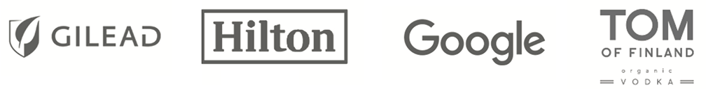 logos for gilead, hilton, google, and tom of finland organic vodka