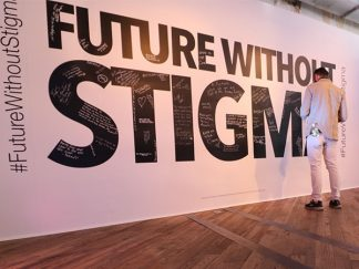photo of wall that reads future without stigma