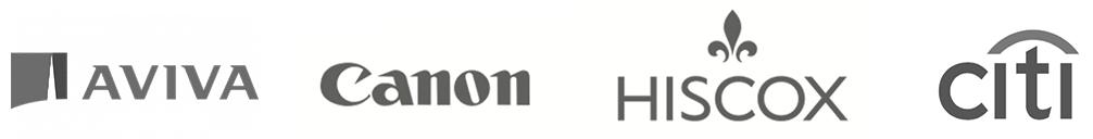 logos for avita pharmacy, canon, hiscox, and citi