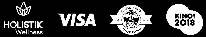 logos for holistik wellness, visa, game face grooming, and kino! 2018