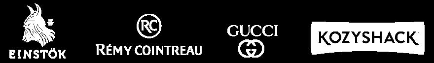 logos for einstök, rémy cointreau, gucci, and kozyshack